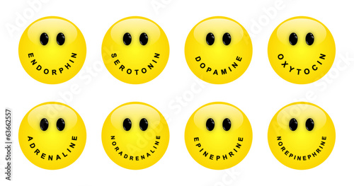 Collection of smileys, symbolizîng the various neurotransmitters