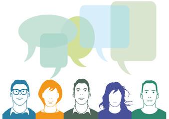 Personen im Chat. Kommunikationskonzept