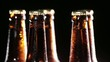 Cold Bottles of Beer on Black Background