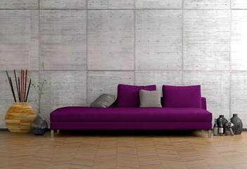 Sofa vor Betonwand