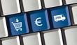 Leinwanddruck Bild - Online Shop Prinzip - kaufen, bezahlen, liefern