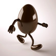 chocolate egg with arms and legs that run