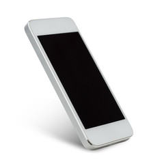 white smarthphone with blank black screen