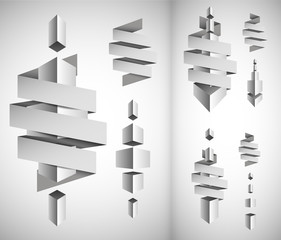 Abstract white cubes blank