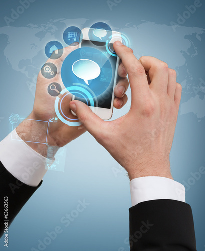 businessman touching screen of smartphone