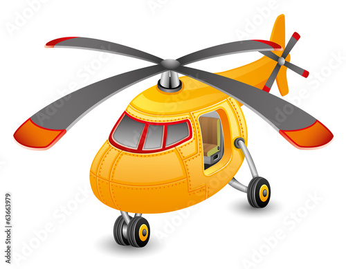 Orange helicopter.