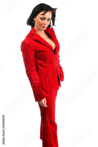 Attractive business woman in red dress