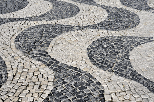 waves patterned portuguese pavement typical in Lisbon, Portugal