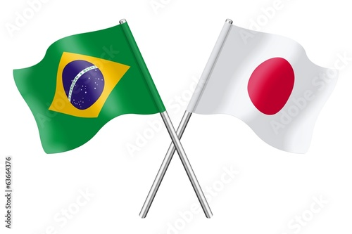 Flags : Brazil and Japan
