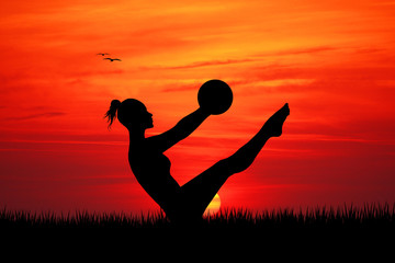 Pilates at sunset
