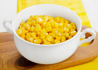 Sweet corn in white bowl