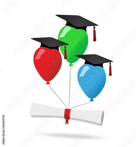 Balloons and diploma - graduation concept