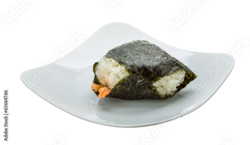 Japan rice ball with salmon