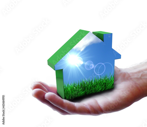Hand With Green Eco House Nature