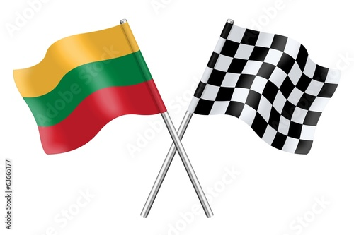 Flags : Lithuania and checkerboard
