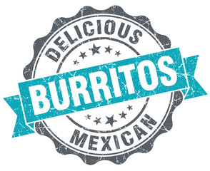 Delicious burritos turquoise grunge retro vintage isolated seal