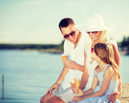 happy family eating ice cream