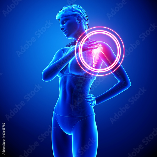 female shoulder pain in blue