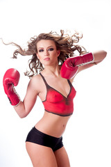 woman and boxing gloves