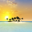 canvas print picture - Island in the sunset