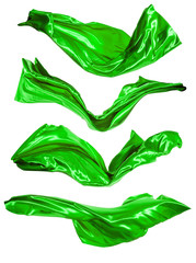 Abstract green satins on white background