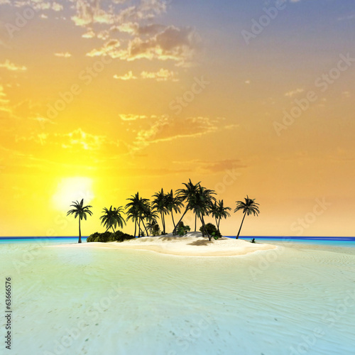 Island in the sunset