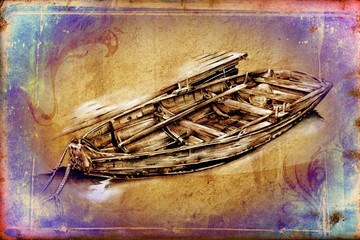 antique boat sea drawing handmade