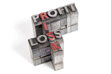 Profit Loss and Risk letterpress concept