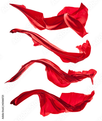 Abstract red satins on white background