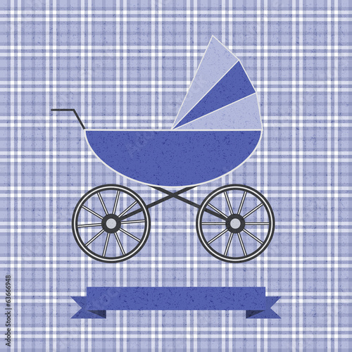 background with a blue pram
