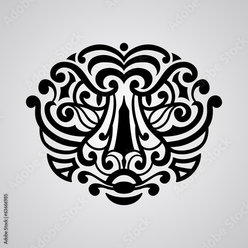 vector tiger face tattoo sketch