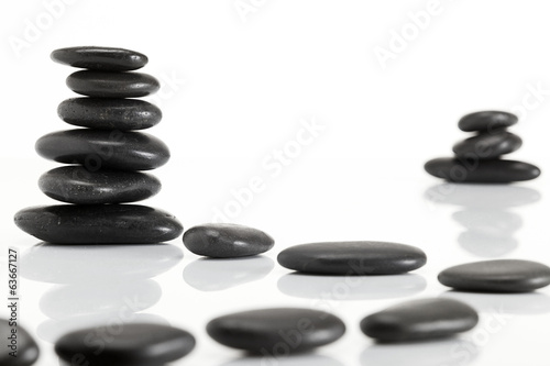 Wet smooth polished hot massage black stones