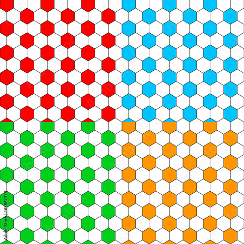 Colorful hexagon soccer ball seamless patterns set, vector