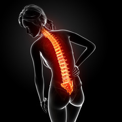 Anatomy of female back pain in black background