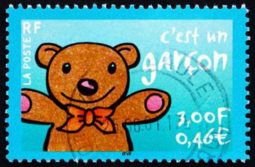 Postage stamp France 2001 Teddy bear