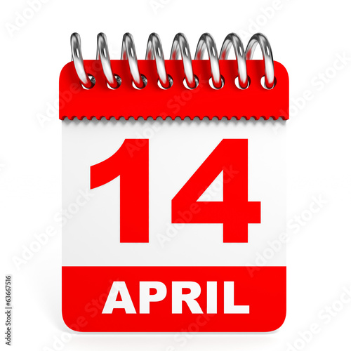 Calendar on white background. 14 April.