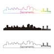 Sacramento skyline linear style with rainbow