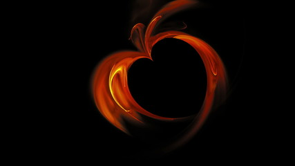 Abstract blazing red heart made of flames, seamless loop