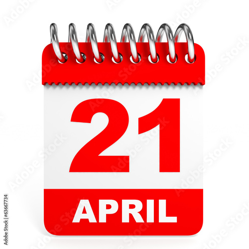 Calendar on white background. 21 April.