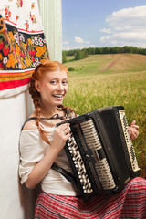Russian girl playing the accordion