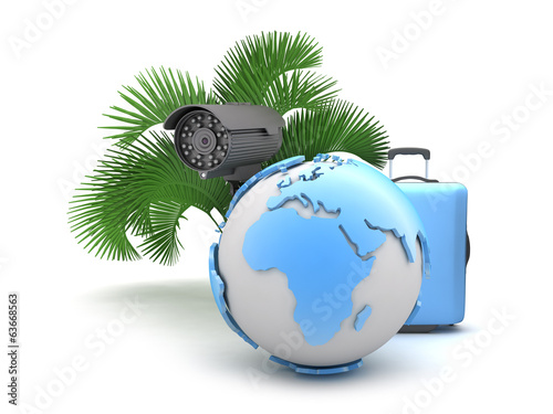 Suitcase, monitoring camera, palm tree and earth globe