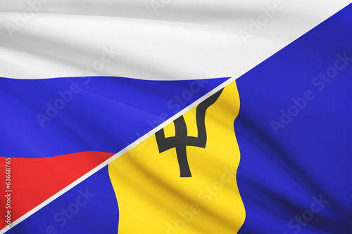 Series of ruffled flags. Russia and Barbados.