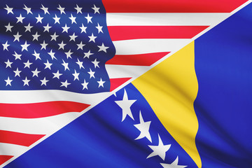 Series of ruffled flags. USA and Bosnia and Herzegovina.