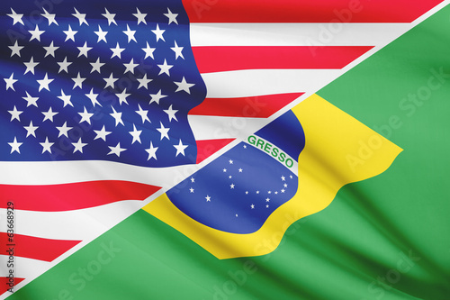 Series of ruffled flags. USA and Brazil.
