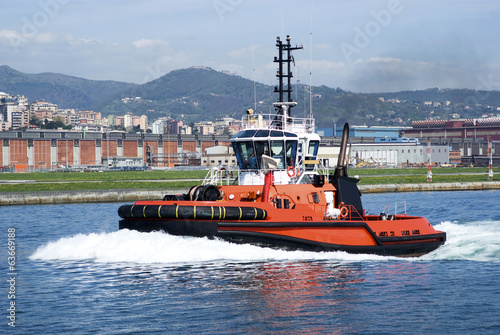 The tugboat in Genoa Harbour, Italy