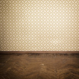 Fototapety Vintage room, empty retro apartment with old fashioned wallpaper