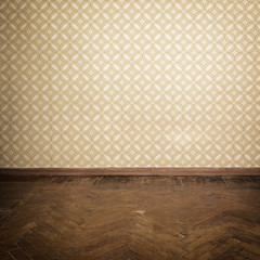 Vintage room, empty retro apartment with old fashioned wallpaper