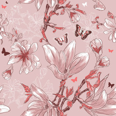 Seamless pattern with magnolia flowers and butterflies