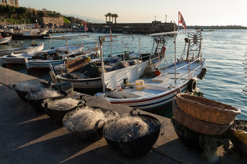 Fishing nets and boats at the harbor of Byblos, Lebanon
