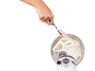 Female Hand Mixing Cake Ingredients